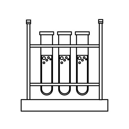 dissolution: test tube rack laboratory chemistry equipment line vector illustration