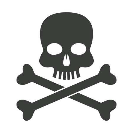skull bones danger poison laboratory vector illustration