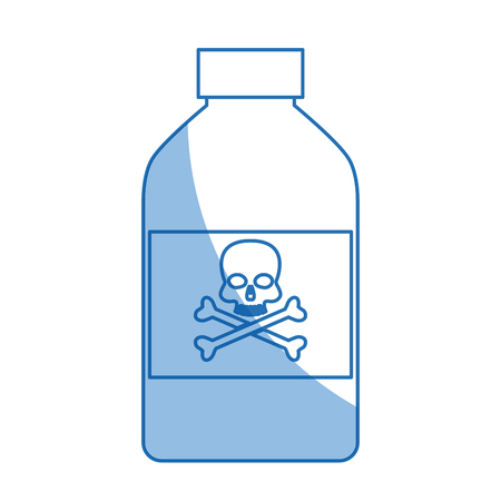 poison bottle: bottle poison chemical danger skull bone shadow vector illustration