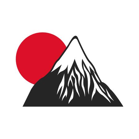 illustrious: mount fuji sun japan landscape natural image vector illustration Illustration