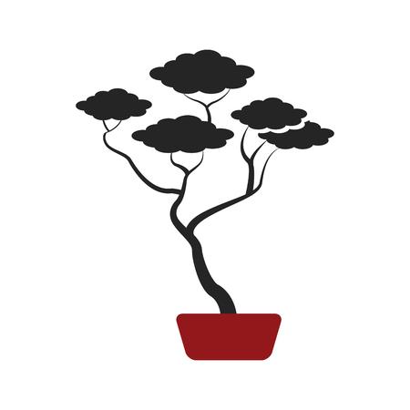 bonsai boom van botanische vectorillustratie van de pijnboom de ceramische pot