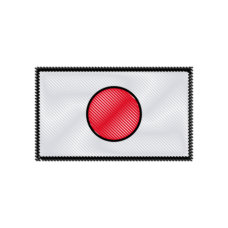 Drawing Japan Flag Emblem Country Symbol Vector Illustration Royalty