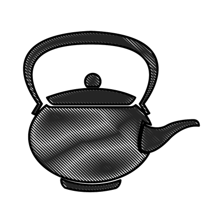 drawing teapot ceramic japanese culture traditional vector illustration Illustration