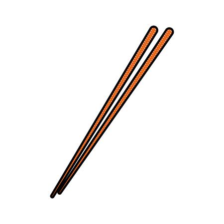 drawing stick wooden food japanese utensil vector illustration