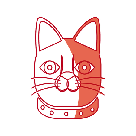 japanese face cat neko doll lucky shadow vector illustration