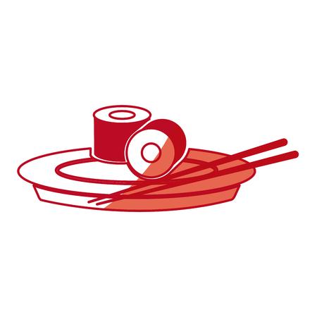 japanese cuisine: japanese sushi food dish chopstick shadow vector illustration