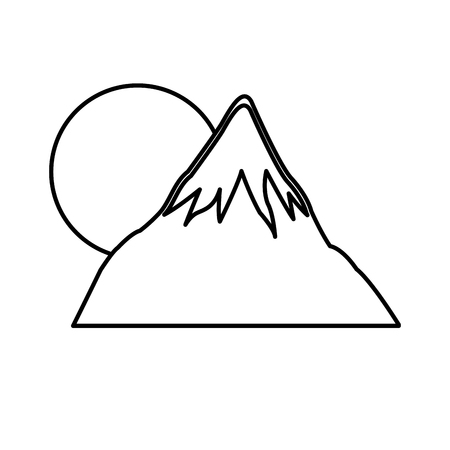 hiking: mount fuji japan sun landscape natural line vector illustration