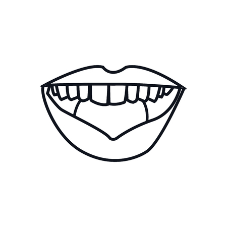 fetishes: outline mouth lips woman expression vector illustration