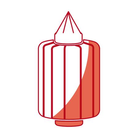 japanese paper art: japanese lantern light decoration culture shadow vector illustration