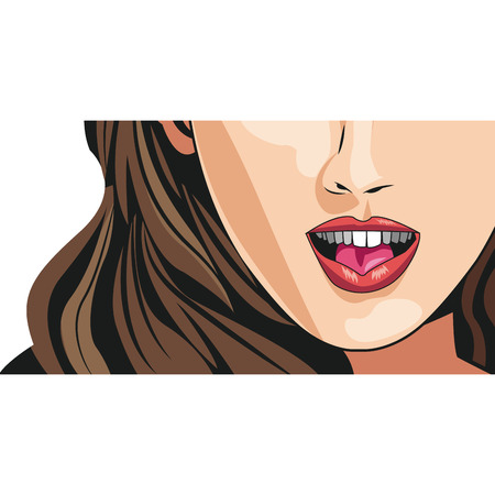 nude young: cheerful young woman mouth lips makeup image vector illustration