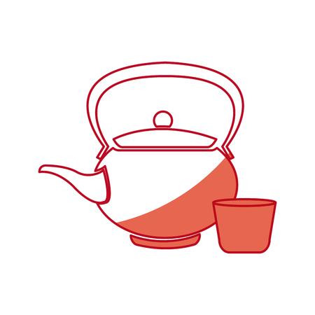 japanese kettle teapot ceramic beverage shadow vector illustration