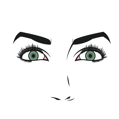 face of young woman facial expression vector illustration