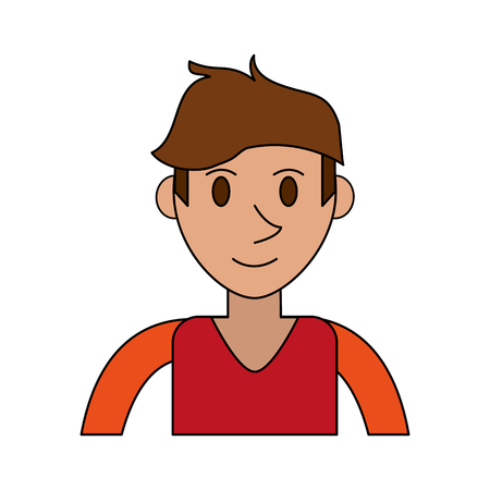 colorful image cartoon front view half body man with t-shirt and hairstyle vector illustration