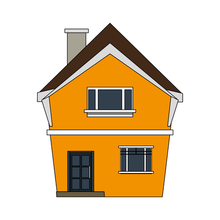 portone: colorful image cartoon facade irregular structure house with chimney vector illustration
