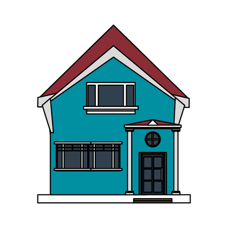 penthouse: colorful image cartoon facade irregular structure house with modern style vector illustration