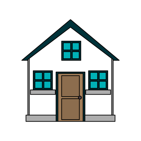 apartment suite: colorful image cartoon facade comfortable small house with attic vector illustration Illustration