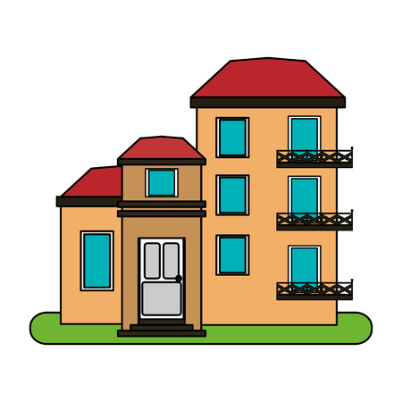 colorful image cartoon facade comfortable lodgings apartments with several floors vector illustration Illustration