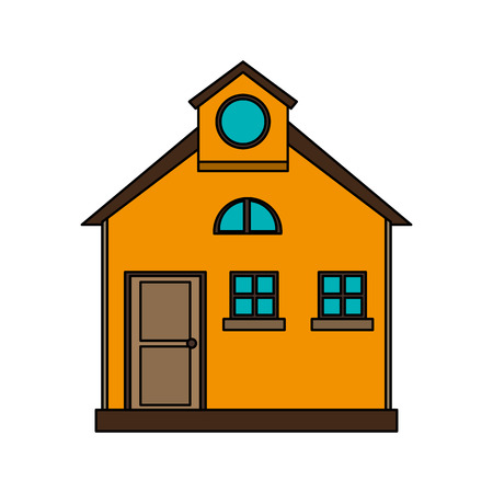 colorful image cartoon facade comfortable house with attic vector illustration Illustration