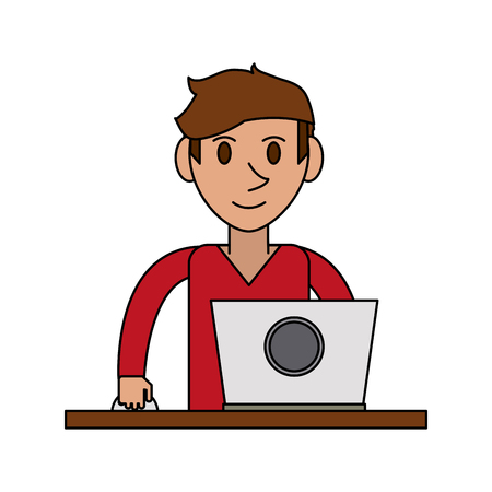 colorful image cartoon front view half body guy with laptop computer vector illustration Illustration