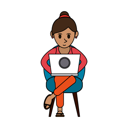 colorful image cartoon woman sitting in chair with laptop vector illustration