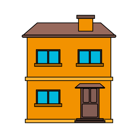penthouse: colorful image cartoon facade comfortable house with two floors vector illustration
