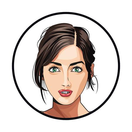 portrait woman makeup charming beautiful vector illustration Illustration