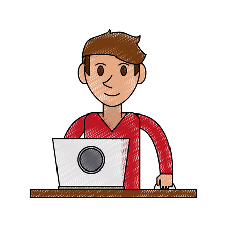 color pencil cartoon front view half body guy with laptop computer vector illustration Illustration