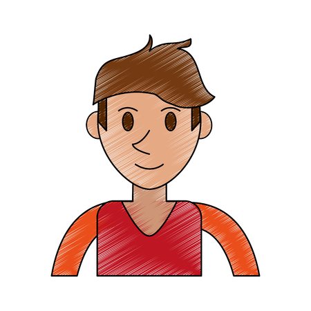 color pencil cartoon front view half body man with t-shirt and hairstyle vector illustration