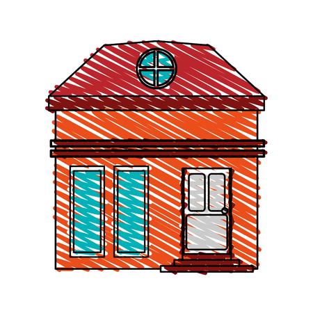 color crayon stripe cartoon facade small house with attic vector illustration