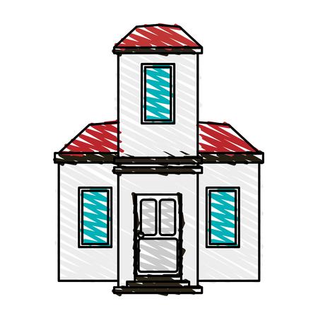 penthouse: color crayon stripe cartoon facade modern house style vector illustration