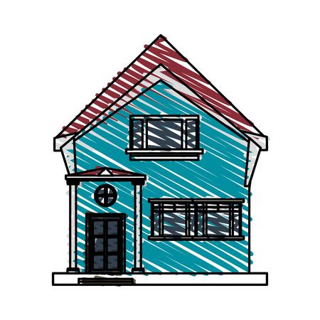 color crayon stripe cartoon facade irregular structure house with modern style vector illustration Illustration