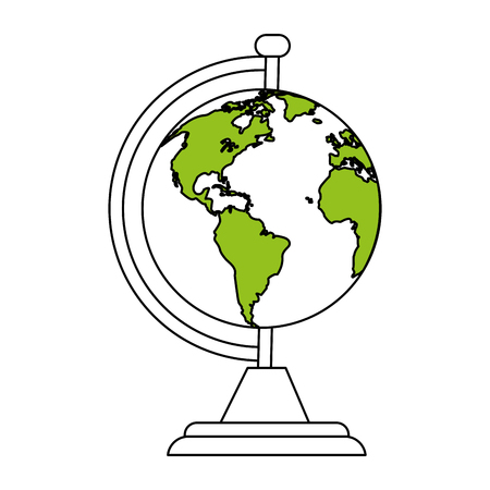 globe grid: color silhouette cartoon earth globe with green lands vector illustration