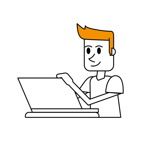 color silhouette cartoon side view half body guy with laptop computer and blond hair vector illustration