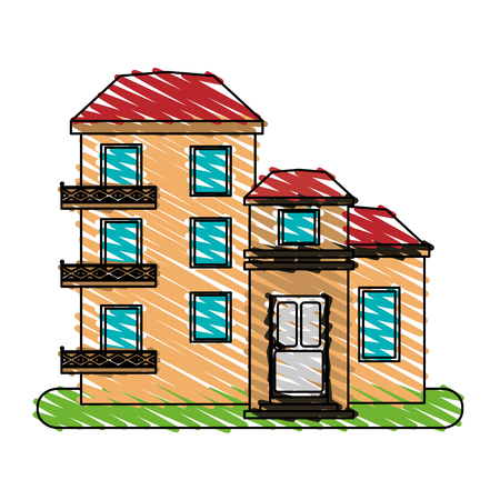 color crayon stripe cartoon facade comfortable lodgings apartments with several floors vector illustration