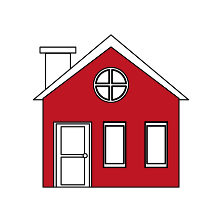 penthouse: color silhouette cartoon red facade village with chimney vector illustration Illustration