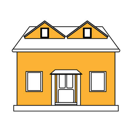 color silhouette cartoon yellow facade house with attic vector illustration Illustration