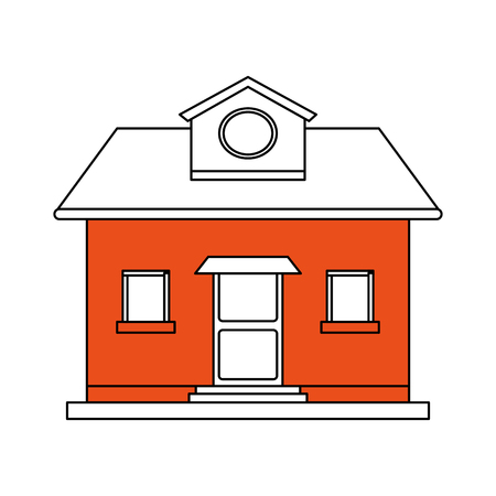 apartment suite: color silhouette cartoon orange facade comfortable house with attic vector illustration Illustration