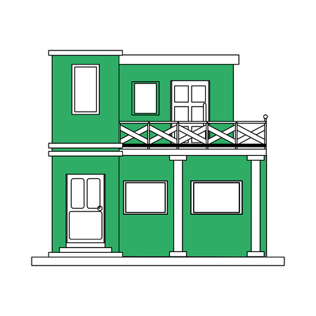 apartment suite: color silhouette cartoon green facade modern house style with two floor and balcony vector illustration