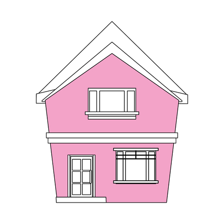 pink roof: color silhouette cartoon pink facade irregular structure house vector illustration Illustration