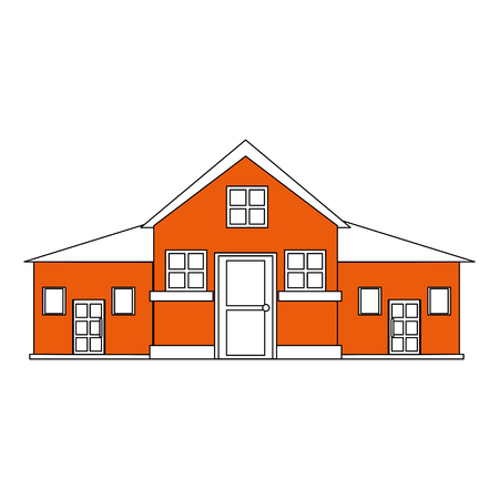 color silhouette cartoon orange facade big comfortable house with two floors vector illustration Illustration
