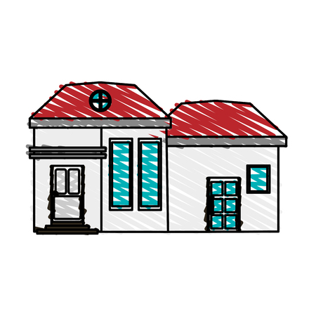 apartment suite: color crayon stripe cartoon facade modern house with two rooms vector illustration Illustration