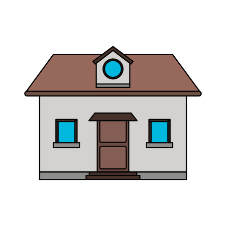 penthouse: colorful image cartoon facade comfortable house with attic vector illustration Illustration