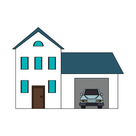 penthouse: colorful image cartoon facade two house floors with garage and car vector illustration