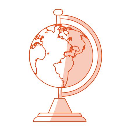 globe grid: orange shading silhouette cartoon earth globe with lands vector illustration