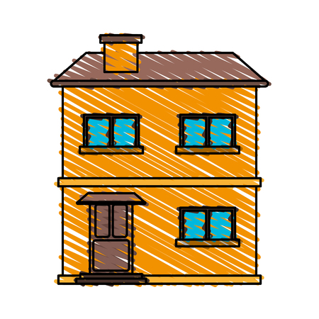 portone: color crayon stripe cartoon facade comfortable house with two floors vector illustration