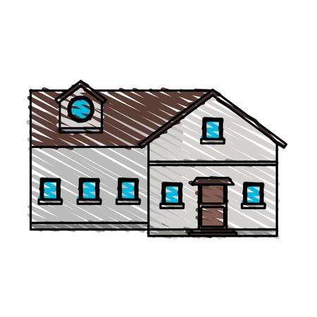 penthouse: color crayon stripe cartoon facade big comfortable house vector illustration