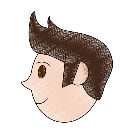 color pencil cartoon profile face guy with hairstyle vector illustration