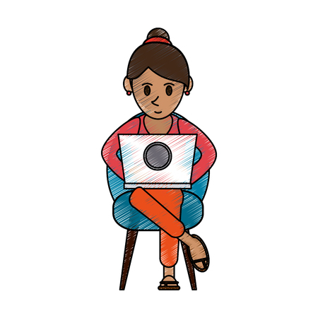 color pencil cartoon woman sitting in chair with laptop vector illustration Illustration