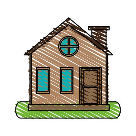 color crayon stripe cartoon facade village with chimney vector illustration