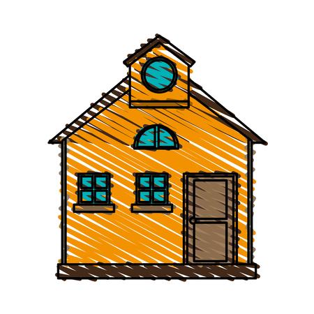 color crayon stripe cartoon facade comfortable house with attic vector illustration